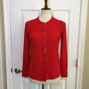 Boden Red Button Down Blouse Top Size 2